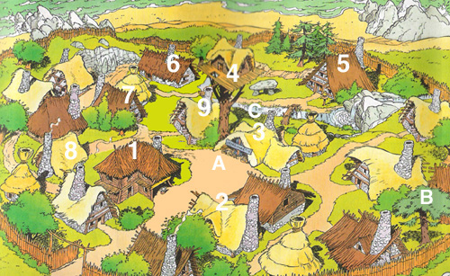 The Gaulish village from the Asterix stories by Goscinny and Uderzo.