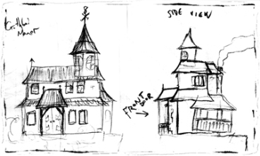Gothboi Manor (front and side) sketches (2012)