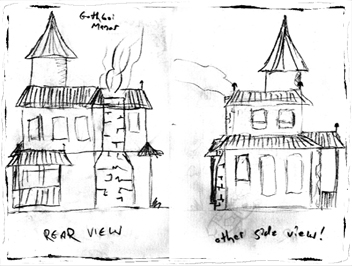 Gothboi Manor (rear and side) sketches (2012)